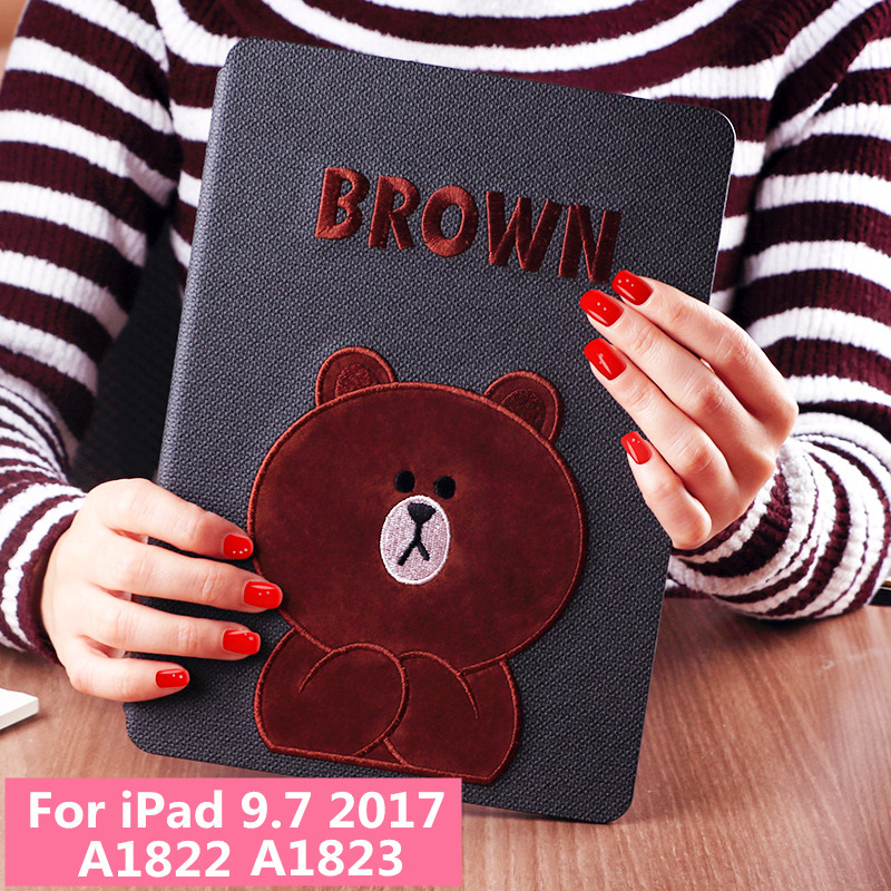 Cute Bear Dog Magnet Flip Cover leather case For Apple iPad 9.7 2017 A1822 A1823 tablet Case soft TPU Back cover 3D Embroidery nice soft silicone back magnetic smart pu leather case for apple 2017 ipad air 1 cover new slim thin flip tpu protective case