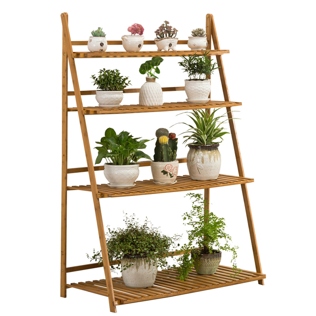 Bamboo Plant Shelves Floor Type Storage Holders Racks for