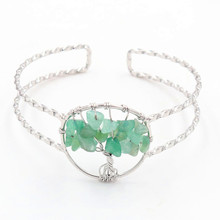 FYJS Unique Silver Plated Wire Tree of Life Bangle Natural Green Aventurine Jewelry