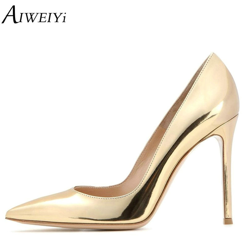 AIWEIYi Women Pointed Toe High Heels Platform Pumps Patent Leather Gold Silver Slip On Ladies Party Wedding Sexy Shoes Woman women ladies flats vintage pu leather loafers pointed toe silver metal design