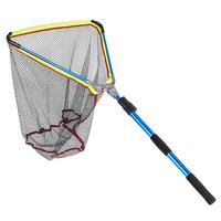 Blue Aluminum Alloy Folding Fishing Landing Net Cast Carp Rubber Coated Fish Net With Extending Telescoping Pole Handle 200cm