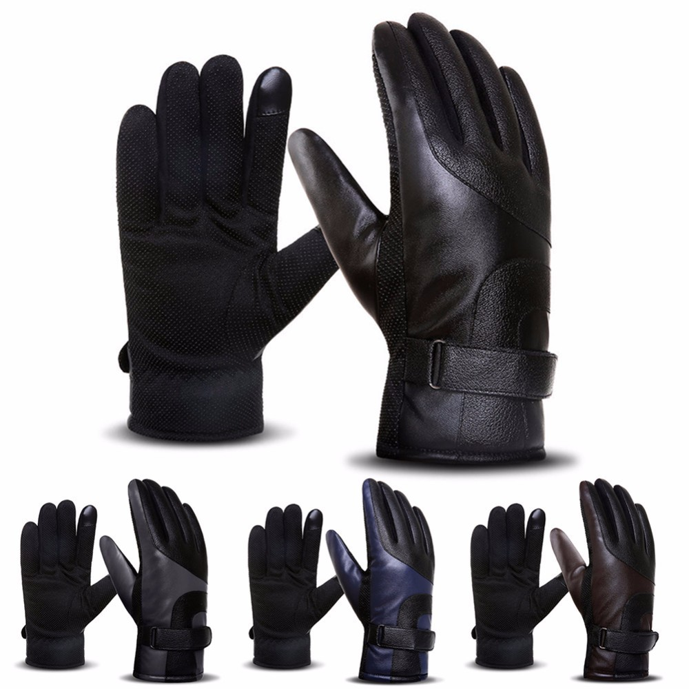 Leather Gloves Mens Winter Touchscreen Gloves Thickened Fleece Windproof Warm Motorcycle Gloves Anti-skid Skiing Riding Gloves