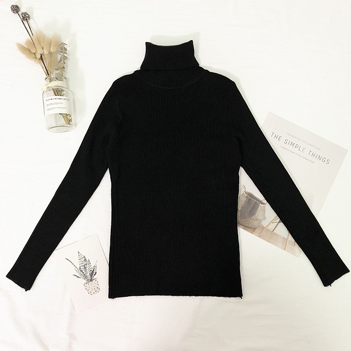 Женские свитера, зимние топы, водолазка, свитер для женщин, тонкий пуловер, джемпер, вязаный свитер, Pull Femme Hiver Truien Dames, новинка - Цвет: Черный