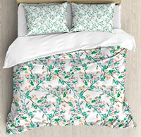 Flower Duvet Cover Set Pink Cherry Blossoms Pattern with Bumble Bees Japanese Spring Themed Artful Print Bedding Set Pink Green