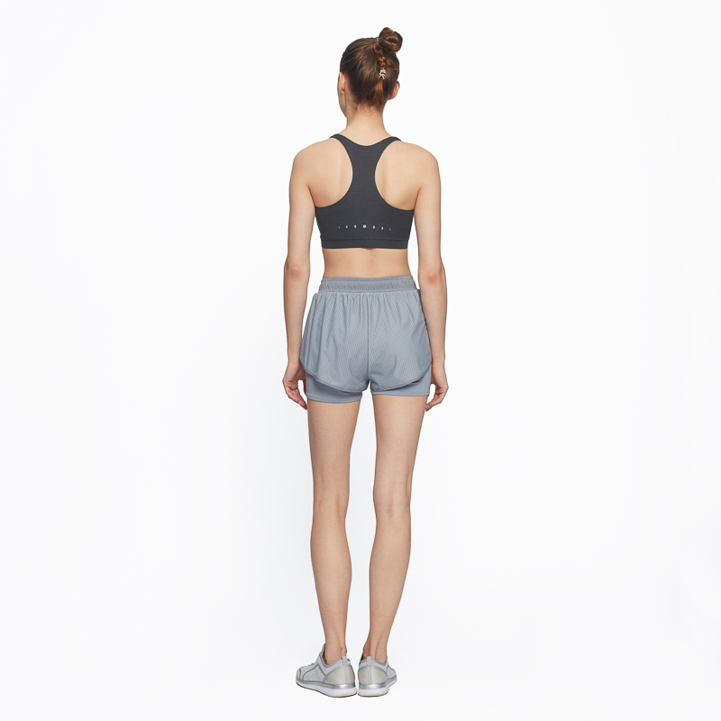 Particle Fever Grey Women Trainning Exercise Shorts Ladies Double Layer Yoga Shorts Breathable Sports Shorts
