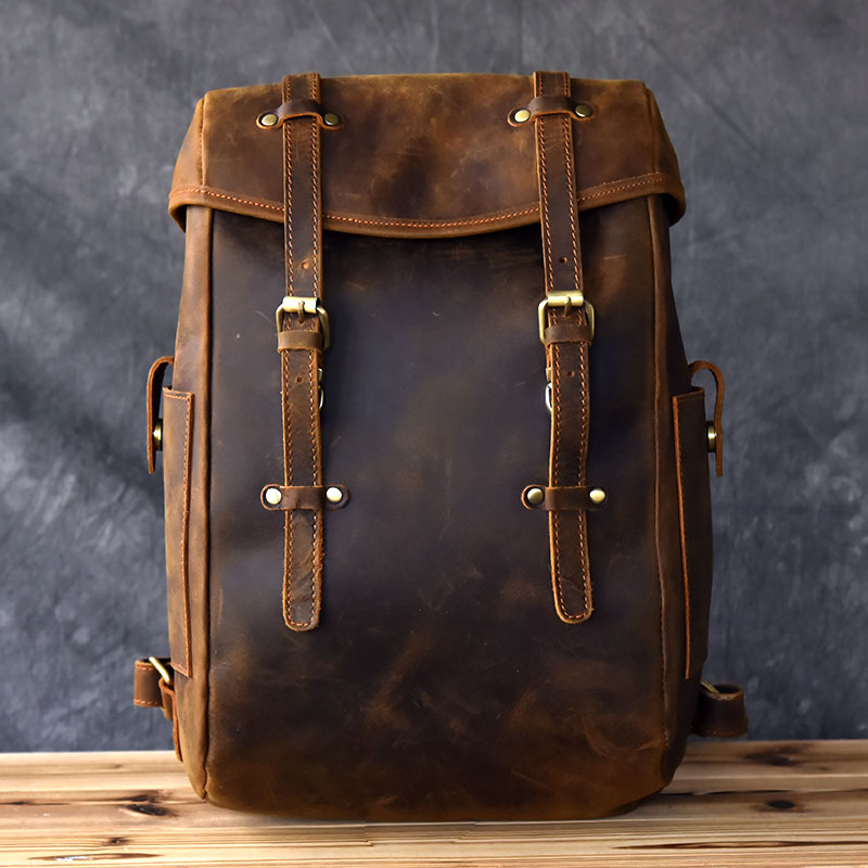 2018 Newest Men vintage crazy horse leather backpack Unisex cow leather Laptop rucksack Women Thick real