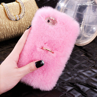 Soft And Warm Rabbit Fur Box DIY Diamond Phone Case Shell For Xiaomi 4S 5 6