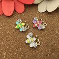 Wholesale 6PCS/Lot Rhinestone Alloy Enamel Animal Bee Charm Pendants DIY Jewelry Findings Gold Tone Oil Drop Bracelet Charms