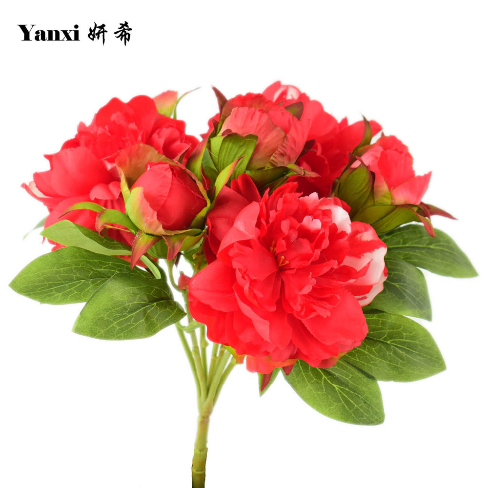 Online get cheap red peony bouquet aliexpress alibaba group silk peony artificial flowers bouquets for home weddding table living room garden decoration fake flowers red white pink green dhlflorist Images