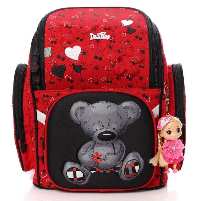 Delune Children Cartoon 3D Bear Pattern Book Bag Girls Portfolio School Bags Foldable EVA Orthopedic Backpack Birthday Gift Doll