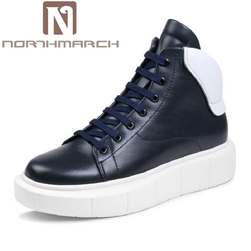 NORTHMARCH New Winter Casual Men Shoes Fashion Trends Lace-Up Breathable Flat With High Top Leather Shoes Personality Martin 2017 new spring imported leather men s shoes white eather shoes breathable sneaker fashion men casual shoes