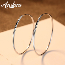 Hot Sale 100% 925 Sterling Silver 6 Sizes Circle Round Hoop Earrings for Women Wedding Party Fashion Jewelry