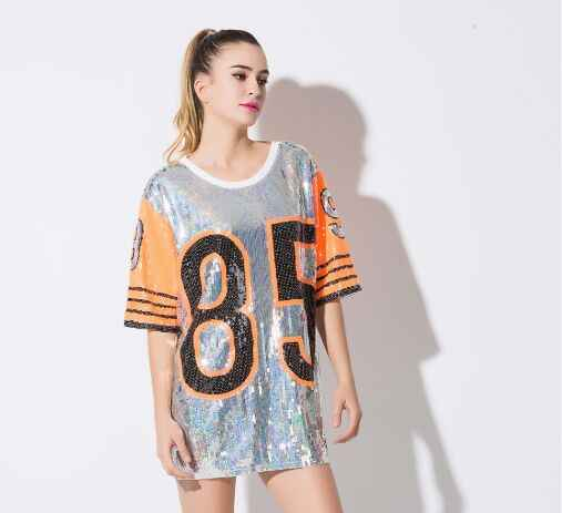 2019 authentique meilleure qualité pour style de la mode de 2019 Large Size Women 2018 Hip-Hop Style Stitching Sequins T Shirt Summer Casual  Loose Robe Maxi T Shirt