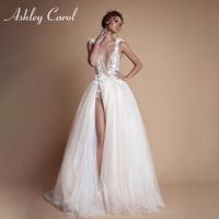 Ashley Carol Sexy Deep V neckline Beach Wedding Dress 2019 Fairy Backless Princess Slit Hem Bridal Dress Boho Lace Wedding Gowns