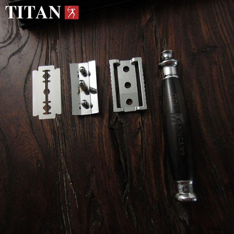 Titan dobbeltkantsikkerhed razor træhåndtag med rustfrit stål del - Barbering og hårfjerning - Foto 3