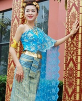 Asian Thai Laos Vietnam Dai Nation Folk dance Traditional dress blue Queen single shoulder Ancient Thailand style Outfit