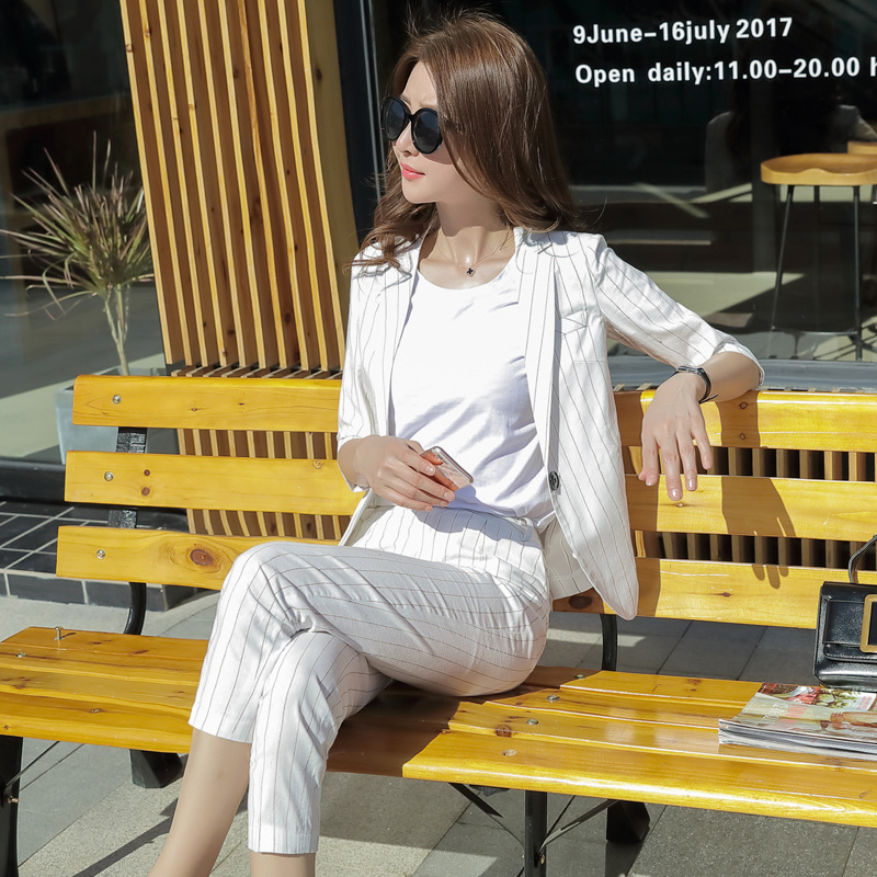 Set female 2018autumn new temperament fashion striped small suit jacket loose professional casual + nine pants elegant two-piece