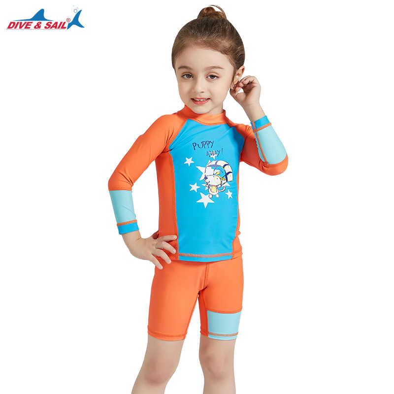 98d373a6eb Children's Two Piece Bathing Suit Rashguard Swimsuit Kids Long Sleeve  Swimwear Wetsuit Quick Drying Diving Suit