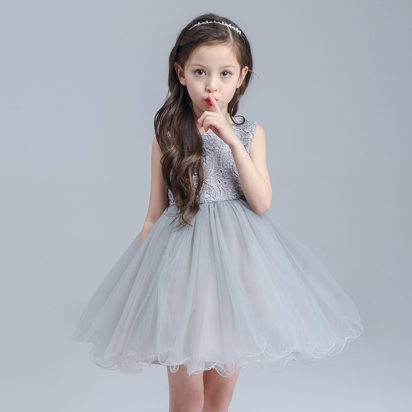 High end Grey Baby Girls Dress For Wedding Princess Big Bow Western ...