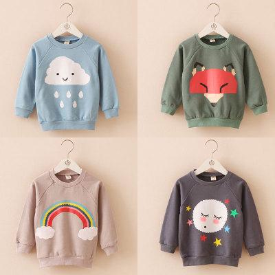 Outono NOVA moda das crianças t-shirt da luva cheia padrão lua Rainbow clouds para boy girl roupa Do Bebê Do algodão Dos Desenhos Animados TOPS