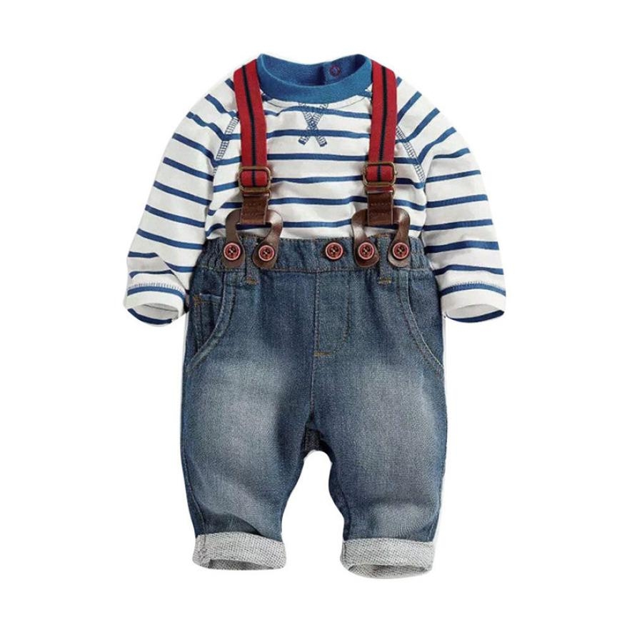 2018 Toddler Baby Boys Long Sleeve Striped T-Shirts + Jean Bib Pants Outfits 1Set Comfor ...