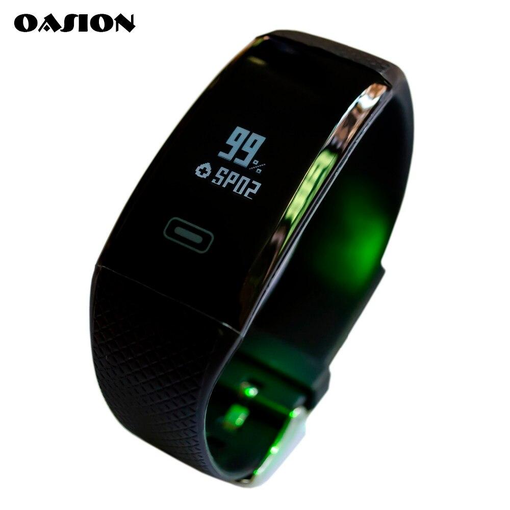 imágenes para OASION gimnasio rastreador inteligente reloj de pulsera brazalete de presión arterial monitor de ritmo cardíaco reloj de la aptitud impermeable inteligente de pulsera