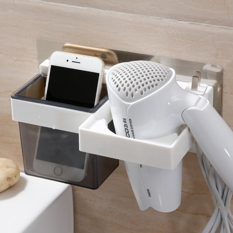 Útil mágico secador de pelo sin costuras estante del baño estante - Organización y almacenamiento en la casa