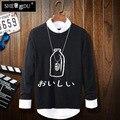 Blusas кашемир Японский бутылки молока с длинными рукавами круглый воротник цвет свитер свитер движение тенденция мужская одежда