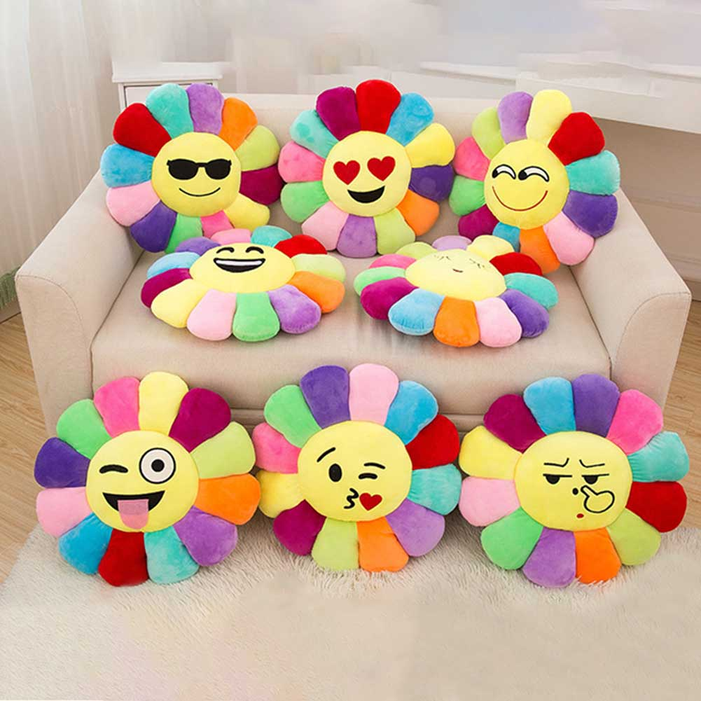Soft Smile Emoticon Sun flowers Stuffed Plush Toy Doll Christmas