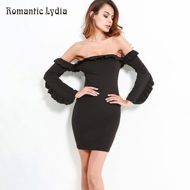 568dee46ae Long Sleeve Off Shoulder Ruffle Bodycon Dress Women Strapless Black Sexy Party  Dresses Bustier Elegant Spring