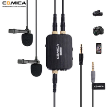 лучшая цена Comica CVM-D03 Dual Lavalier Lapel Microphone with Mono/Stereo Clip-on Interview Microphone for Cameras Camcorders& Smartphones