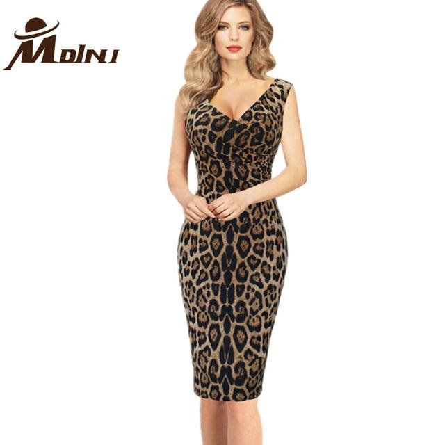c90e4193e Mujeres Vestido De verano estilo De trabajo Vestido De la Oficina De la  impresión del leopardo