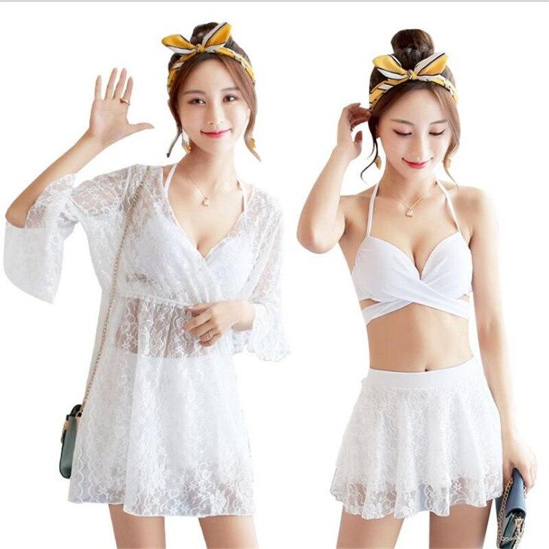 Youyou Female Three-piece Korean Hot Spring Small Fragrance Thin Slim Belly Sexy Spa Split Skirt Swimsuit Women Swimwear