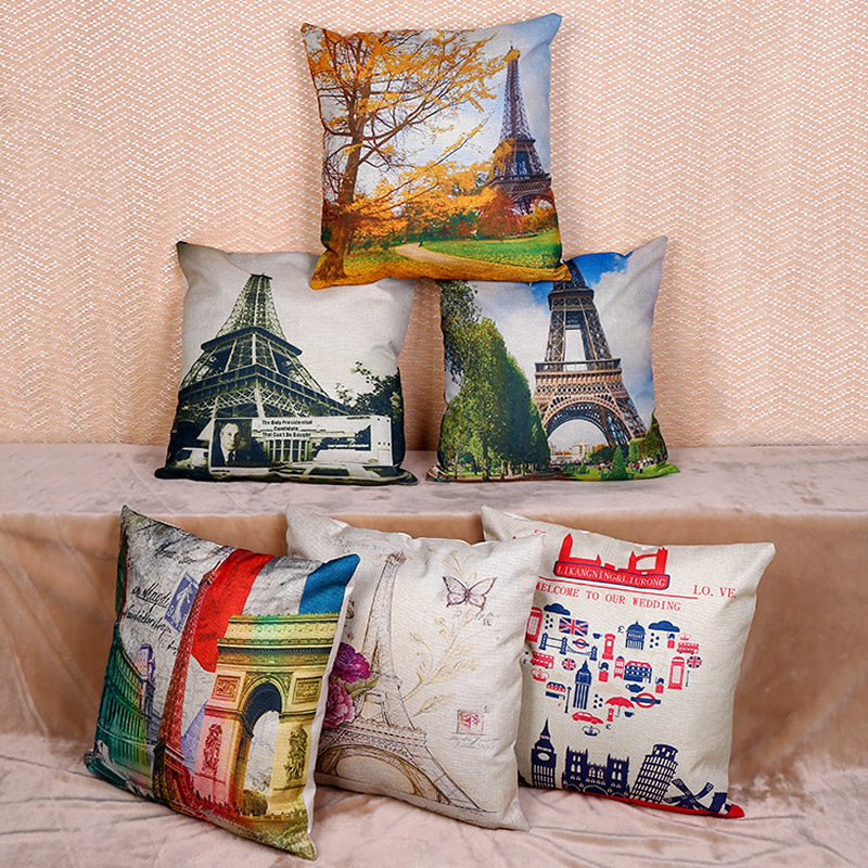 Square Pillowcase Scenery Cushion Cover Pillow Case For Sofa Car Decorative Pillow Covers Home Decor 45x45cm F