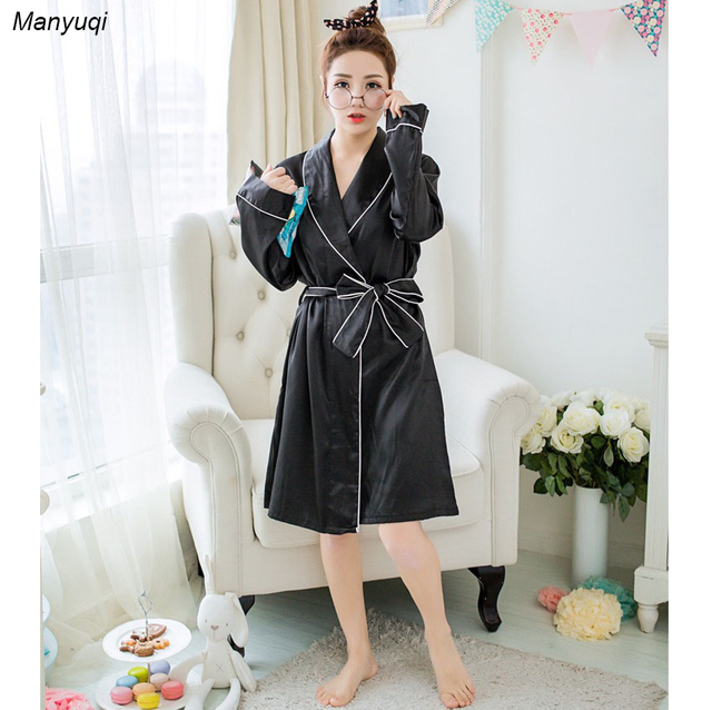 women\'s solid color silk robe lapel high quality women dressing gown ...