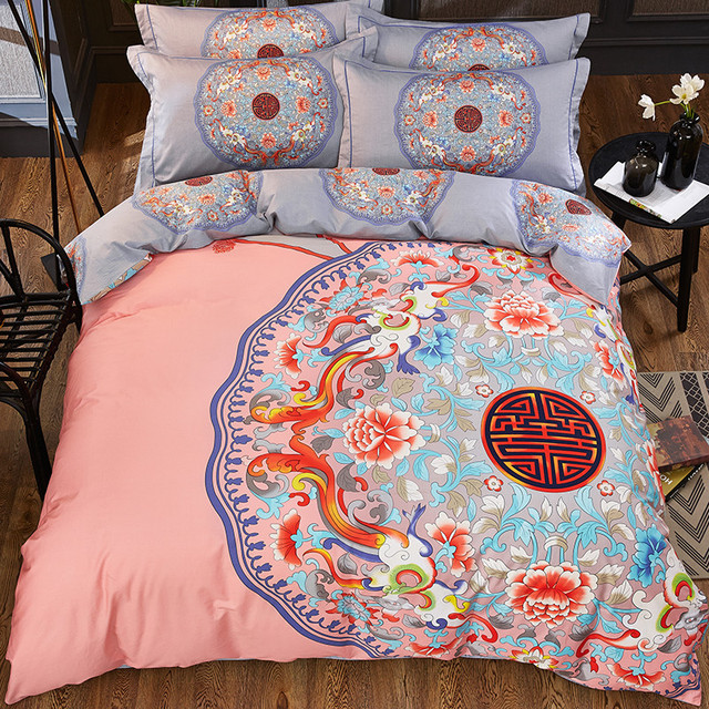 Good Quality Chinese Style Cotton Bedding Sets Quilt Cover Comfortable Duvet Pink Pillowcase Gray Sheet
