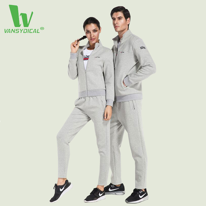 VANSYDICAL Men Women 3 piece Sports Suits Fitness Sportswear Suits Long Sleeve Jacket Yoga Shirts Gym Pants For Running Set Suit