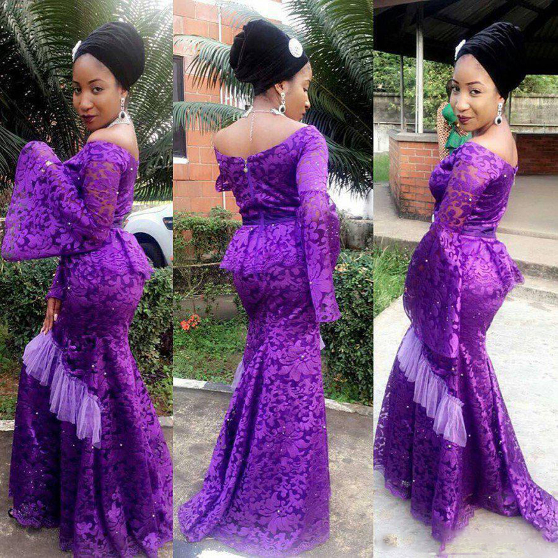 Plus Size Purple Lace Evening Dress 2020 South African Puff Sleeve Mermaid Prom Dresses Aso Ebi Style Long Prom Party Gowns