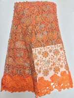 Orange High Quality Nigerian French Net Guipure Tulle Lace With Beaded Stones African Fabrics For Nigerian