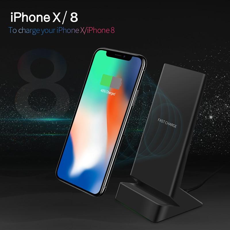 Bezdrátová nabíječka CinkeyPro W9 Qi Rychlé nabíjení 2.0 5V / 1,5A a 9V / 1.1A Rychlé nabíjení pro iPhone 8 10 X Dokovací stojan Samsung S6 S7 S8