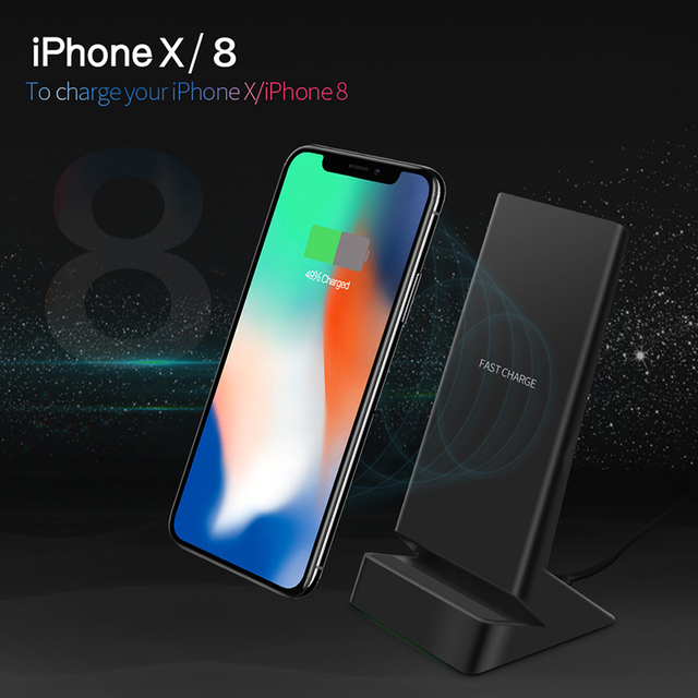 competitive price 89a66 77285 US $19.99 30% OFF CinkeyPro W9 Qi Wireless Charger Quick Charge 2.0 5V/1.5A  & 9V/1.1A Fast Charging for iPhone 8 10 X Samsung S6 S7 S8 Dock Stand-in ...
