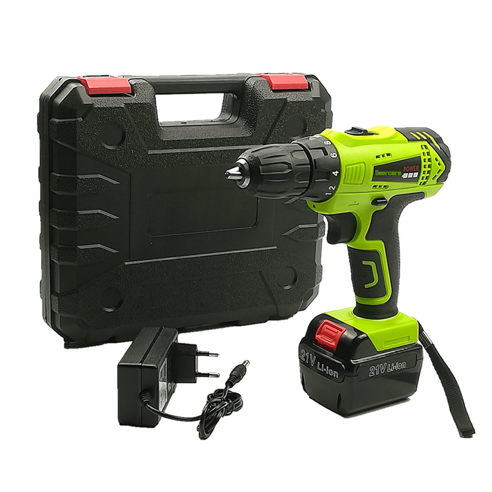 21v Cordless Screwdriver Rechargeable Drill Household Battery Electric Drill One Lithium Battery Parafusadeira Furadeira Tools lomvum 12v 16 8v 21v cordless rechargeable lithium battery electric screwdriver mini drill kit furadeira screw gun longyun