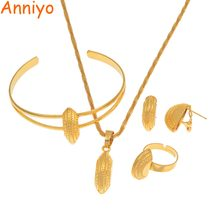 Anniyo New Ethiopian Jewelry Sets for Child Girls Kids Necklaces Earring Ring Bangle Gold Color African Eritrea Habesha #164506(China)