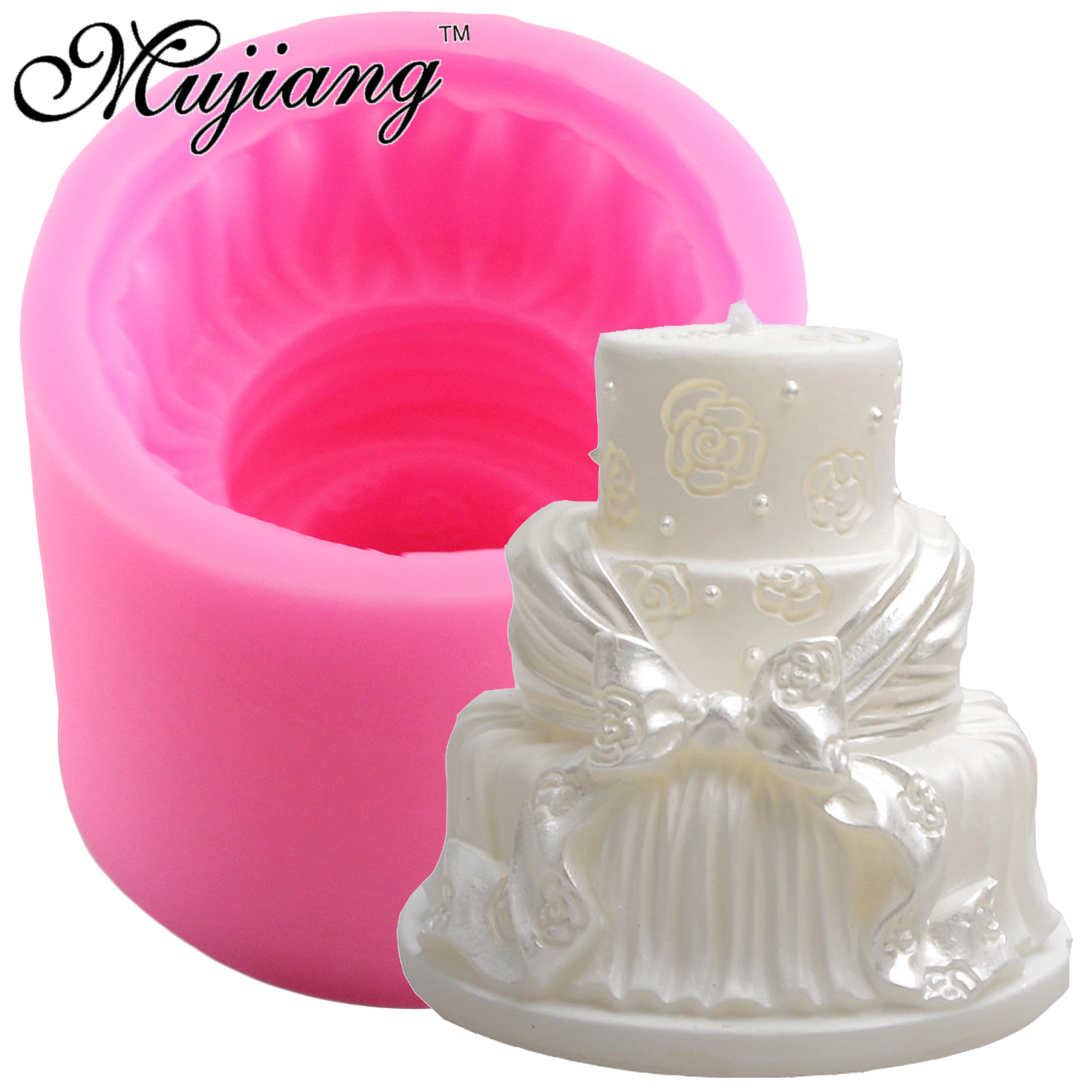 Mujiang Wedding Cake Soap Silicone Mold Fondant Cake Decorating Tools 3D Chocolate Candy Molds DIY Plaster Candle Clay Moulds