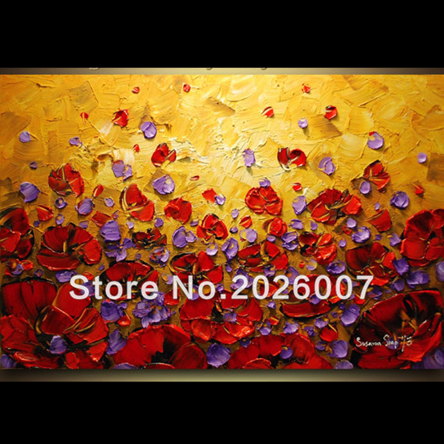 Hand Paited Wall Art Orange Purple Red Poppies Oil Painting Decor On ...