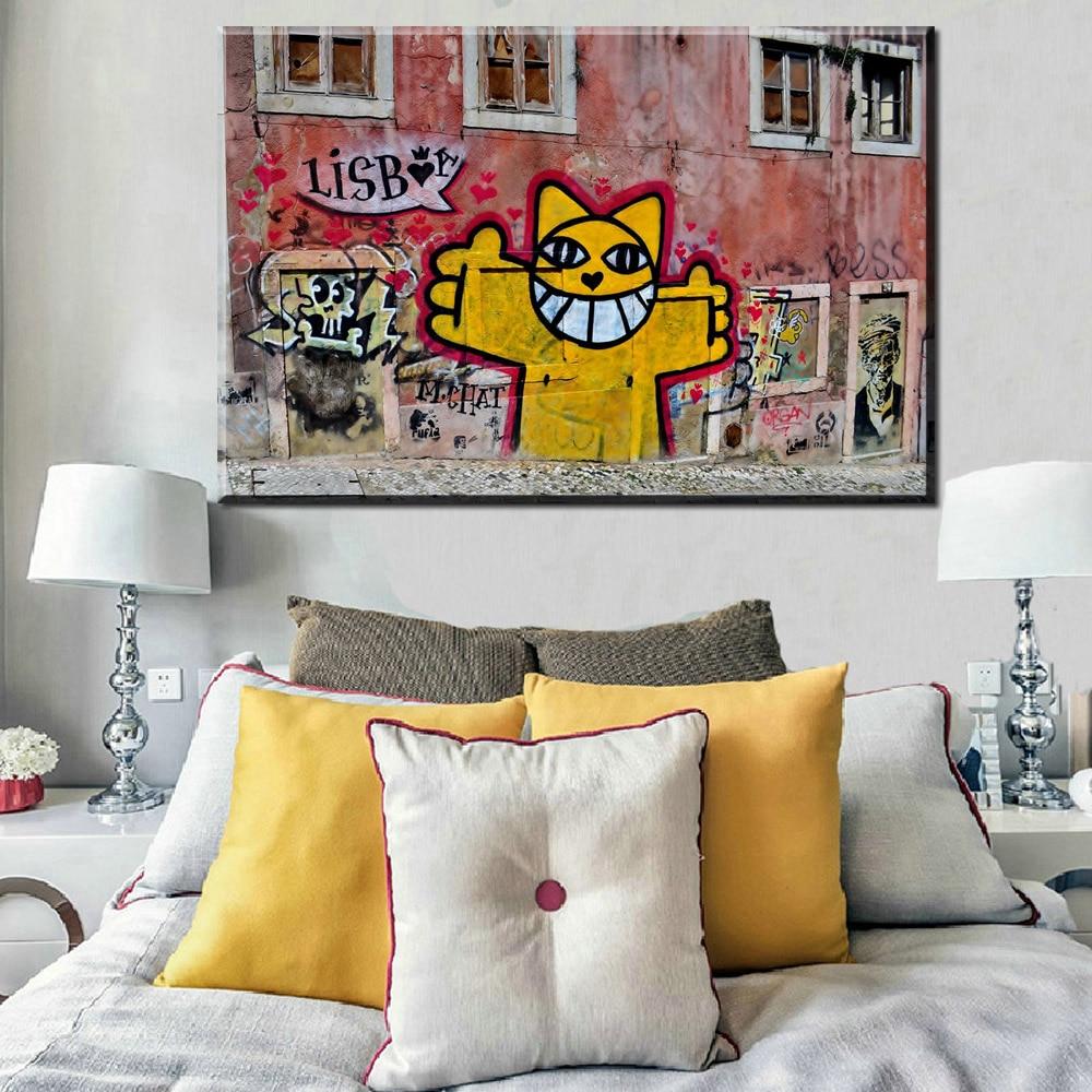 Grafitti art kopen - Xh338 Pop Art Print Graffiti Street Wall Art Abstract Moderne Lucky Kat Portret Canvas Olieverf Livingroom