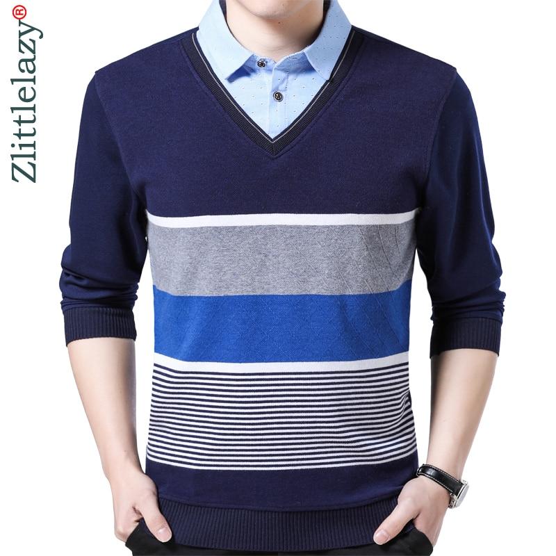 2019 hot brand striped   polo   shirt men clothes thin fashion long sleeve shirts   polos   mens fake two pieces jersey poloshirt 6122