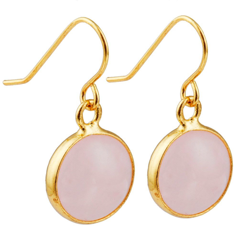 SUNYIK Pink Quartz Crystal Round Slice Dangle Hook Earrings,Gold Tone