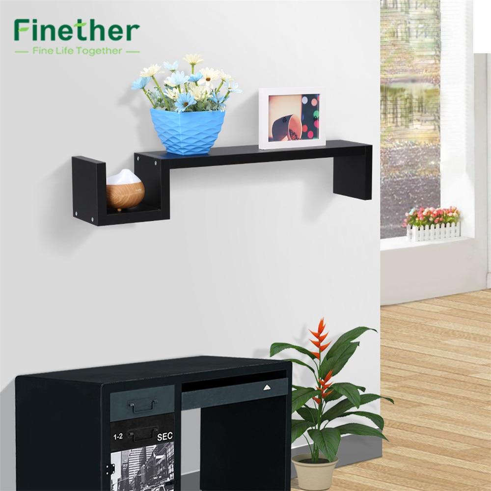 finether modern sshaped floating wall mounted shelf bookshelf display rack wall shelf storage ledge - Wall Mount Shelf