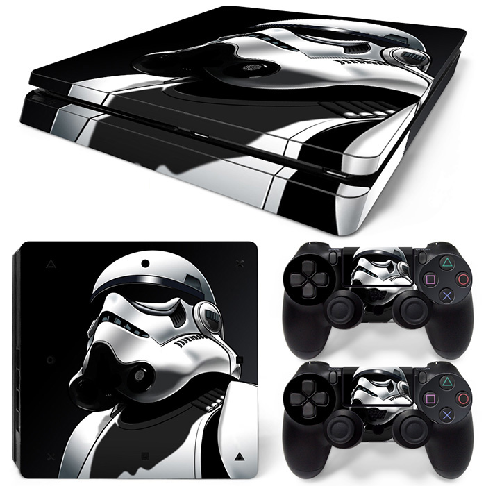 Game accessories cool robot man style decal skin sticker for PS4 slim console and two controller covers #TN-P4Slim-1312